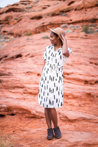 Pre-Order Nursing Line Dot Button Up Dress