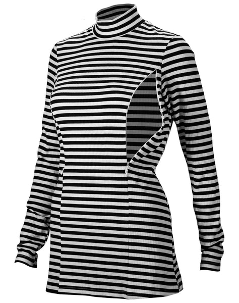 Nursing Striped Turtleneck Tunic