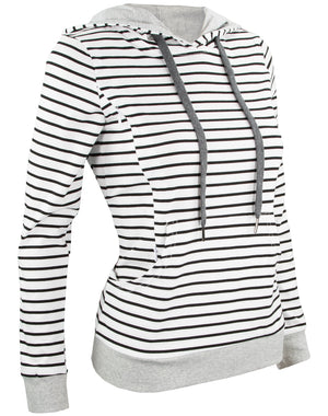 Breastfeeding Striped Hoodie - White With Black Stripes