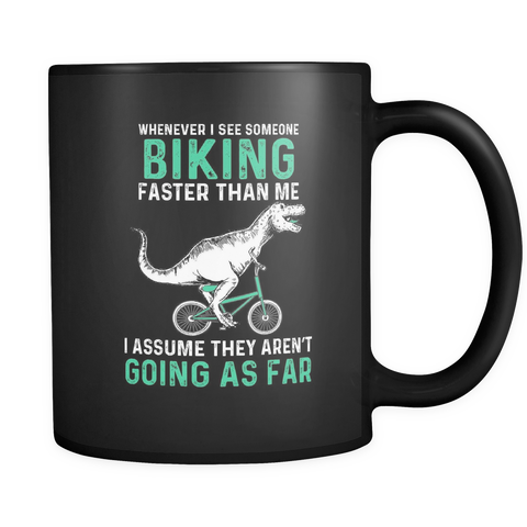 Dinosaur Riding Black 11oz Mug
