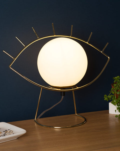 Lampe de table globe opalin Golden eye