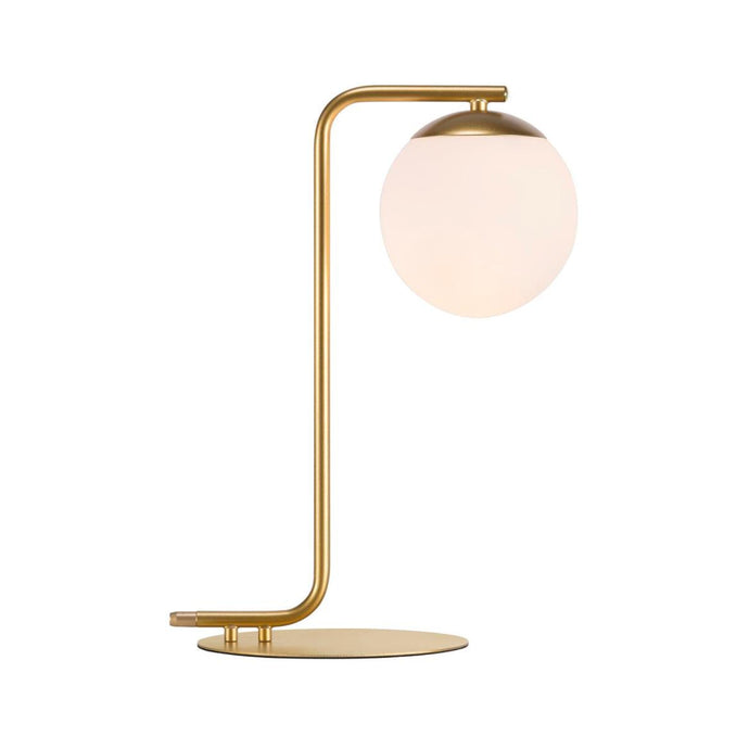 Lampe de table globe opal doré