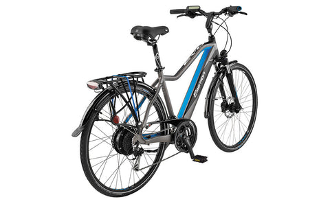 Easy Motion EVO CITY + offers the full utility of fenders, rack, lights, comfortable saddle and adjustable stem in a traditional diamond frame configuration. Ideal for taller riders. Come take a test ride on the bike path behind our store.