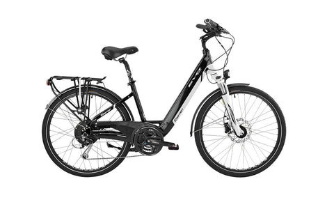 Easy Motion EVO STREET +     EVO STREET +  takes the same functionality found in the City bikes and matchs it with a smaller step through frame and wrap it all in a simple black and white livery. See one today at Crazy Lenny's E-Bikes.