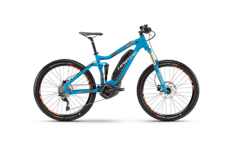 This Haibike SDURO ALLMTN 5.0 mountain e-bike is great for off-road riding and for avid cyclists who love thrilling rides.