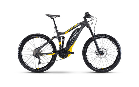 Haibike SDURO ALLMTN 6.0 is top of the line with its Yamaha mid-drive motor beautifully integrated into the frame and has an upgraded 500 watt hour battery pack.