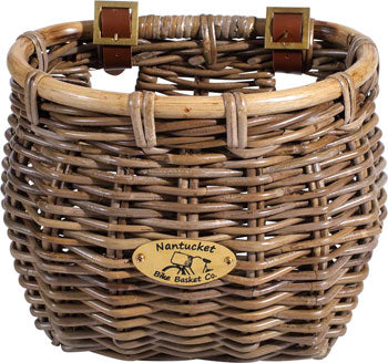 Nantucket Tuckernuck Front Basket, Classic Shape, Natural  at Crazy Lenny's E-Bikes