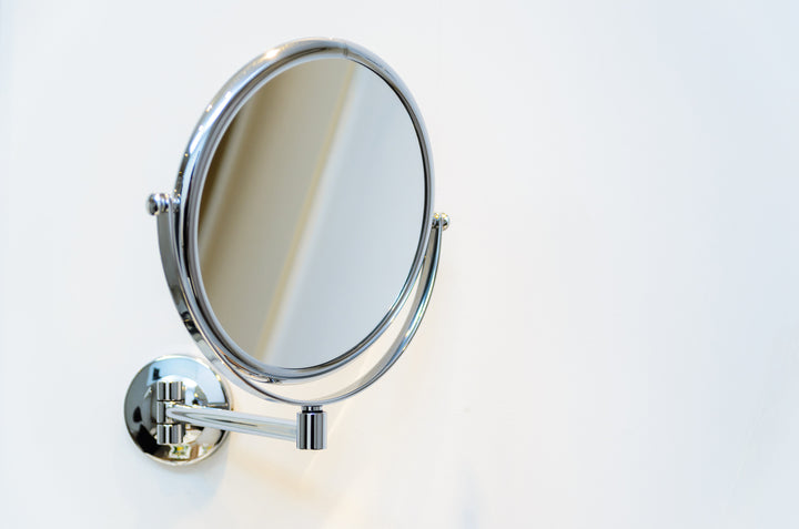 chrome shaving mirror reflection perfect shave