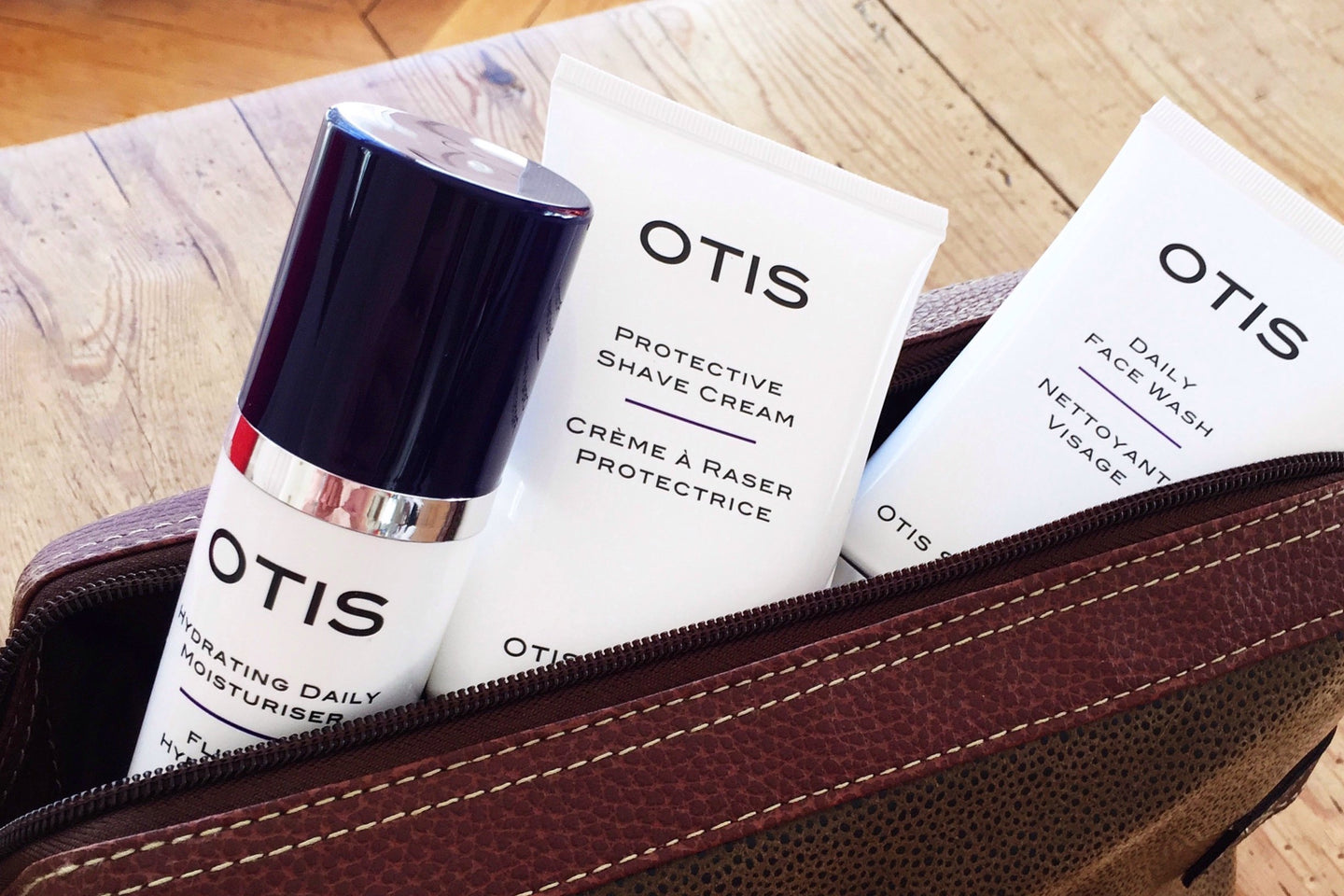 Otis Skincare - Three prestige men's skincare products in leather wash bag - daily face wash, protective shave cream and hydrating daily moisturizer