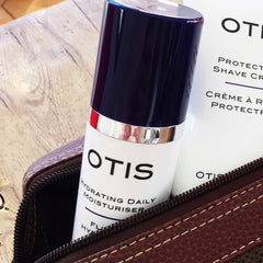 OTIS hydrating daily skincare in travel bag