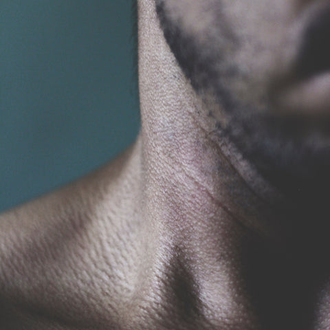 man with sensitive skin on neck