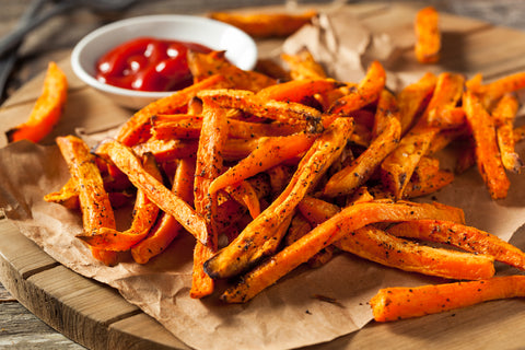 Colorful Healthy Homemade Baked Sweet Potato Fries with Tomato Ketchup