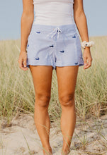 Load image into Gallery viewer, Blue + White Seersucker Ladies Lounge Short with Navy Nantuckets