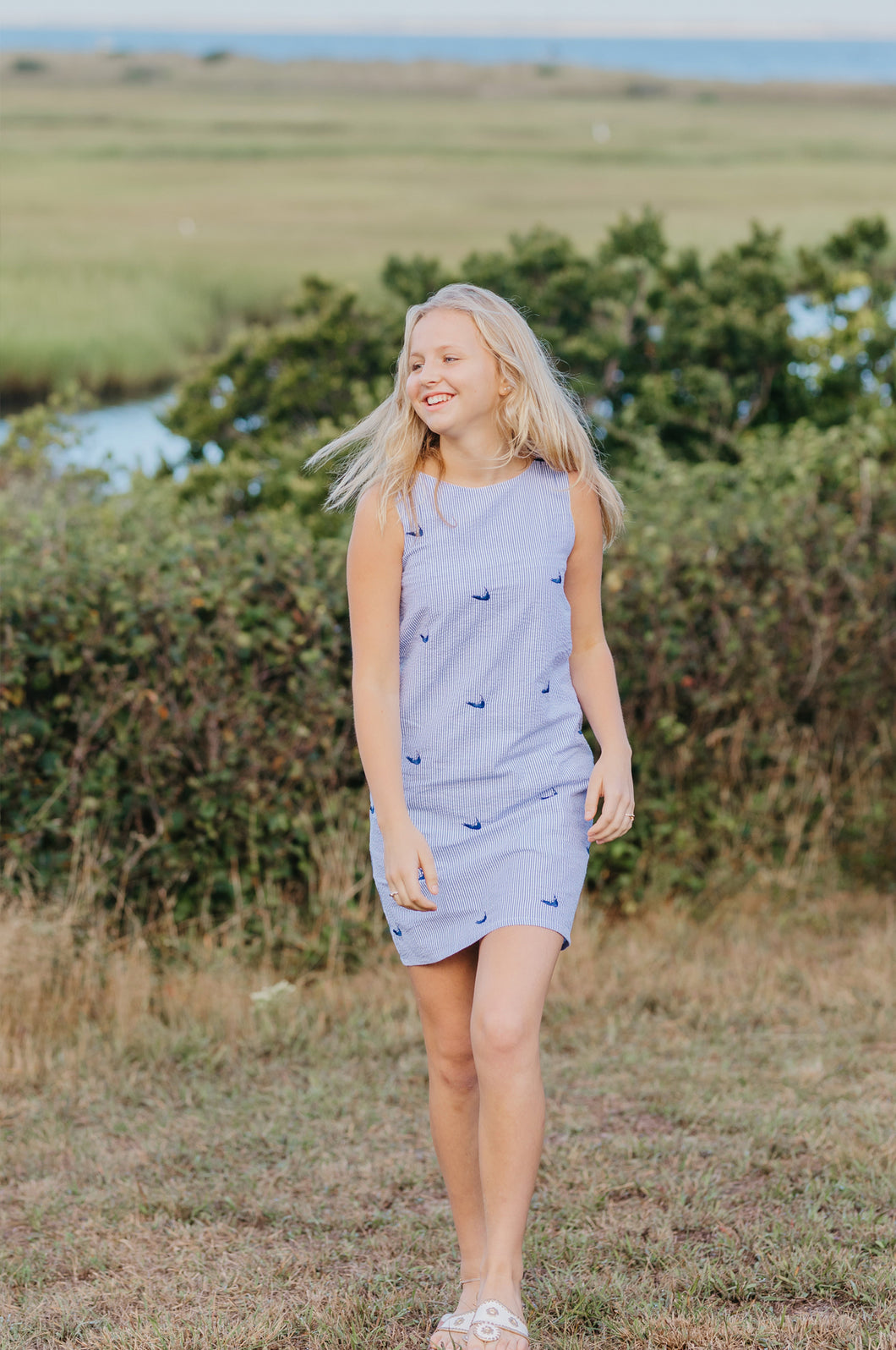 Blue + White Seersucker Ladies Shift Dress with Navy Embroidered Nantuckets
