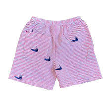 Load image into Gallery viewer, Kids Red Seersucker Shorts with Navy Embroidered Nantuckets