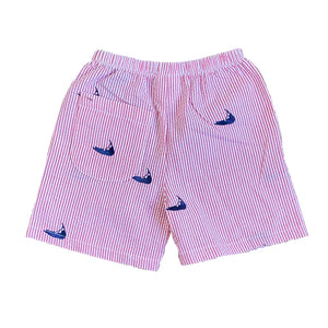 Kids Red Seersucker Shorts with Navy Embroidered Nantuckets