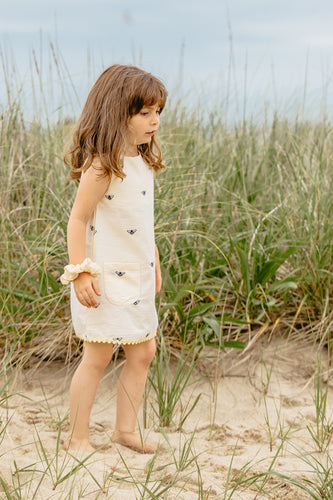 Yellow Seersucker Girls Dress with Embroidered Honeybees