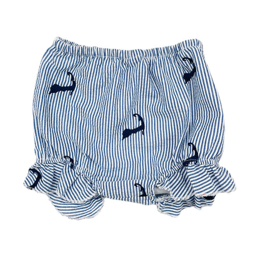 Blue Seersucker Baby Bloomers with Navy Embroidered Cape Cods