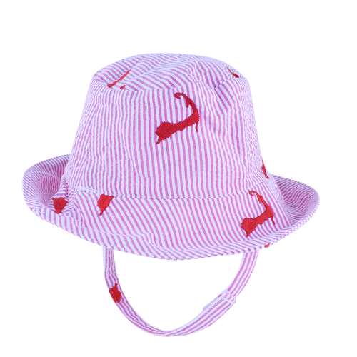 Pink Seersucker with Pink Embroidered Cape Cods Baby Bucket Hat