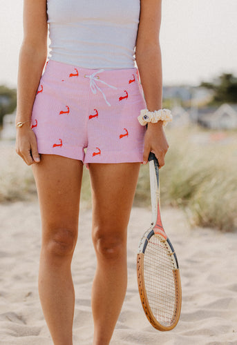 Pink + White Seersucker Ladies Lounge Short with Cape Cods