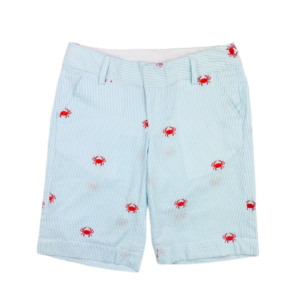 Turquoise Women's Seersucker Bermuda Shorts with Red Embroidered Crabs