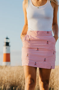 Red + White Ladies Seersucker Skirt with Embroidered Sankaty Head Lighthouses