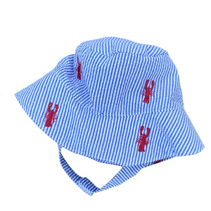 Blue Seersucker with Red Embroidered Lobsters Baby Bucket Hat