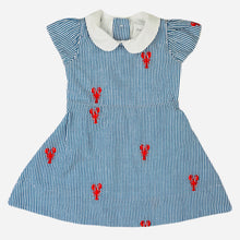 Load image into Gallery viewer, Blue Seersucker Girls Dress with Red Embroidered Lobsters and Peter Pan Collar
