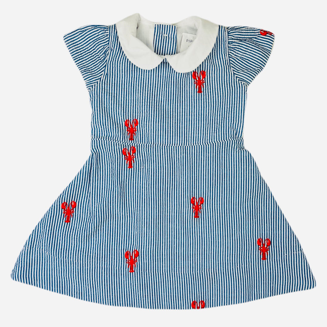 Blue Seersucker Girls Dress with Red Embroidered Lobsters and Peter Pan Collar