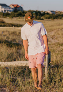 Red + White Mens Seersucker Shorts with Navy Embroidered Whales