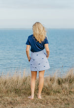 Load image into Gallery viewer, Blue + White Ladies Seersucker Skirt with Navy Embroidered Martha's Vineyards