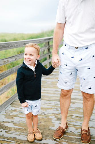 Light Blue + White Mens Seersucker Shorts with Navy Embroidered Nantuckets