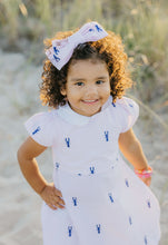 Load image into Gallery viewer, Pink and White Seersucker Girl's Dress with Navy Embroidered Lobsters and Peter Pan Collar