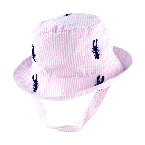Pink Seersucker with Navy Embroidered Lobsters Baby Bucket Hat