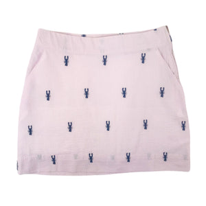 Light Pink Seersucker Women's Skirt with Navy Embroidered Lobsters