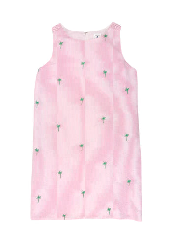 Pink Seersucker Women's Dress with Green Embroidered Palm Trees
