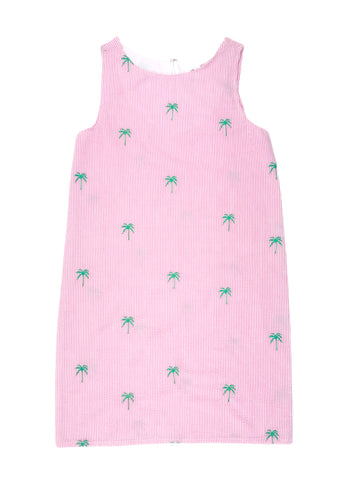 Pink Seersucker Women's Dress with Green Embroidered Palm Trees (UNLINED)