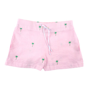 Pink Seersucker Ladies Lounge Short with Green Embroidered Palm Trees