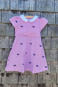 Red Seersucker Girls Dress with Navy Embroidered Whales and Peter Pan Collar