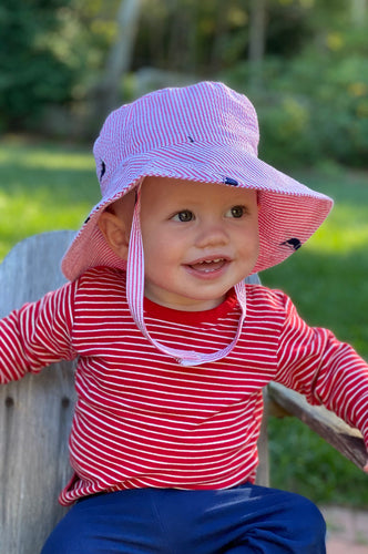 Red Seersucker with Navy Embroidered Nantuckets Baby Bucket Hat