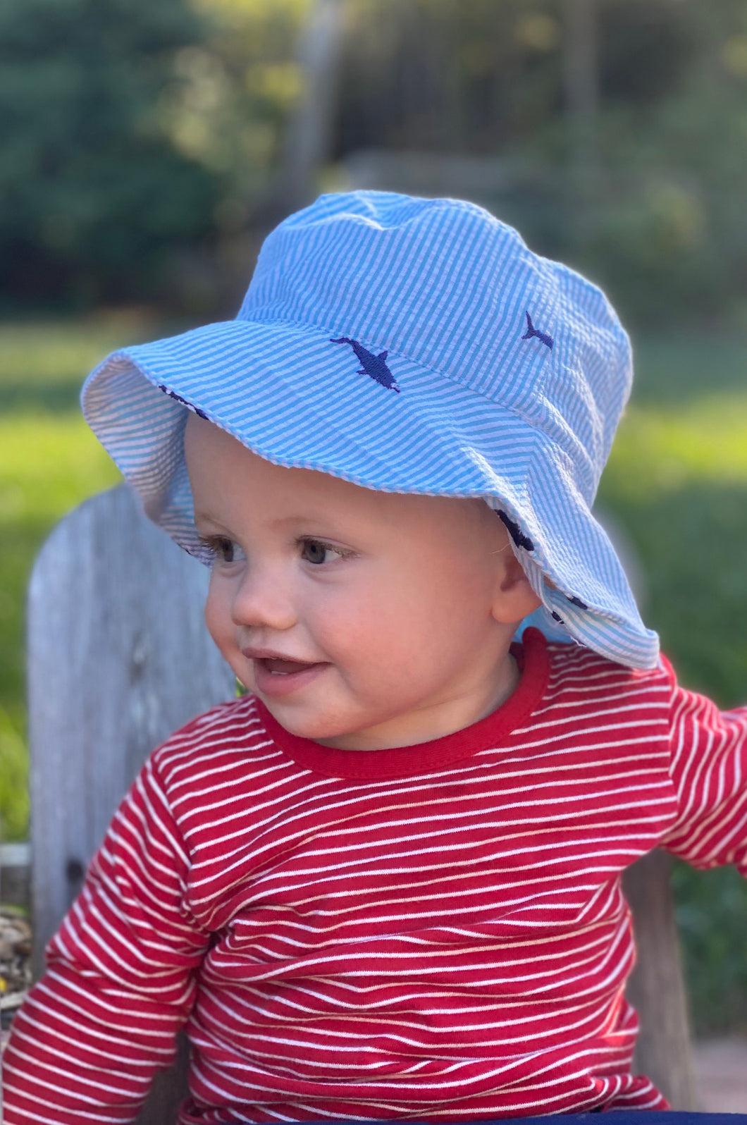Turquoise Seersucker with Navy Embroidered Sharks Baby Bucket Hat