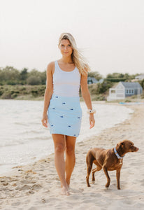 Turquoise + White Ladies Seersucker Skirt with Navy Embroidered Sharks