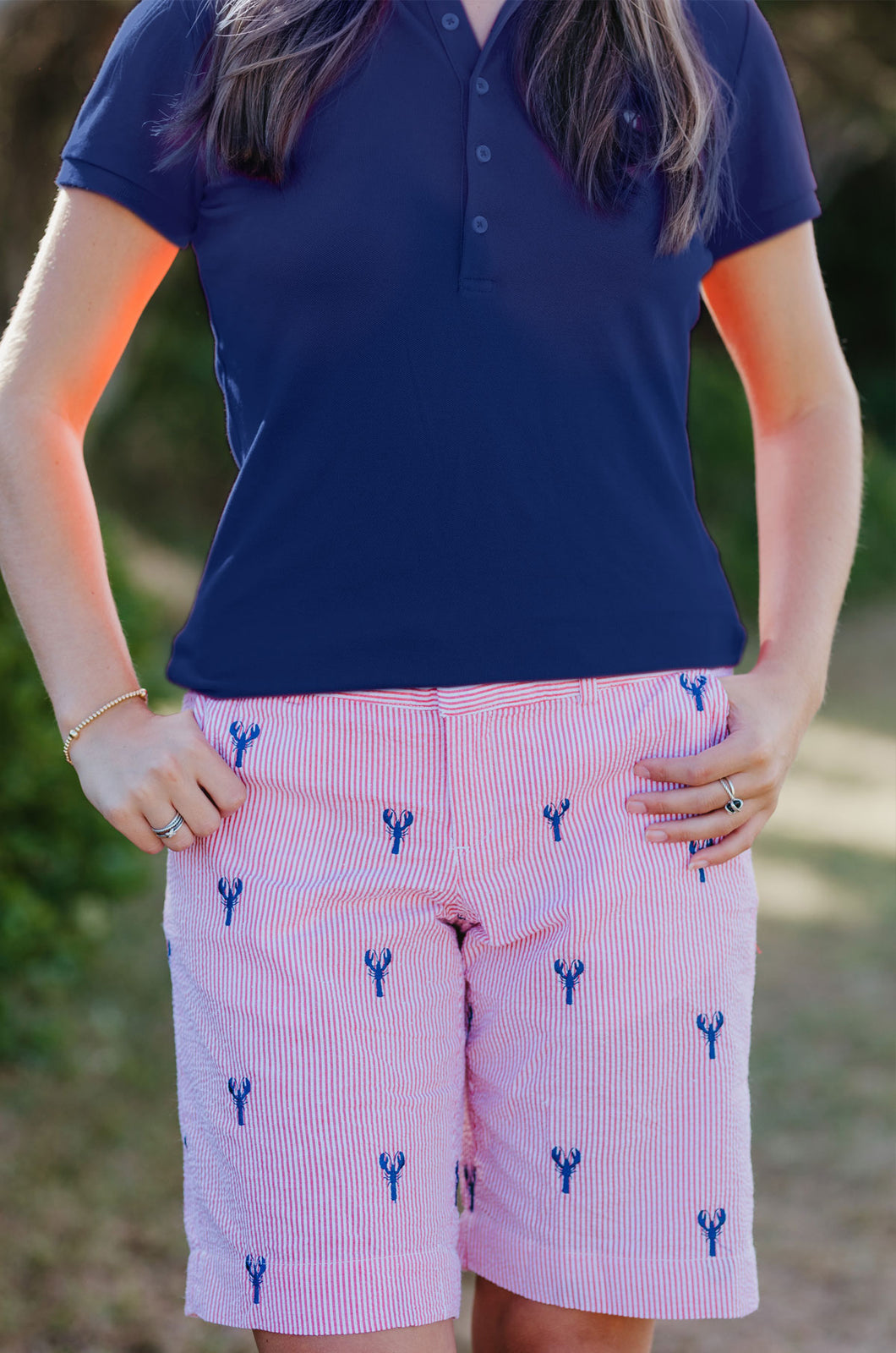 Red Seersucker Women's Bermuda Shorts with Navy Embroidered Lobsters