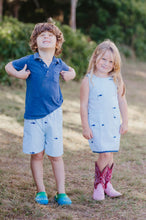 Load image into Gallery viewer, Turquoise + White Seersucker Girls Dress with Navy Embroidered Sharks