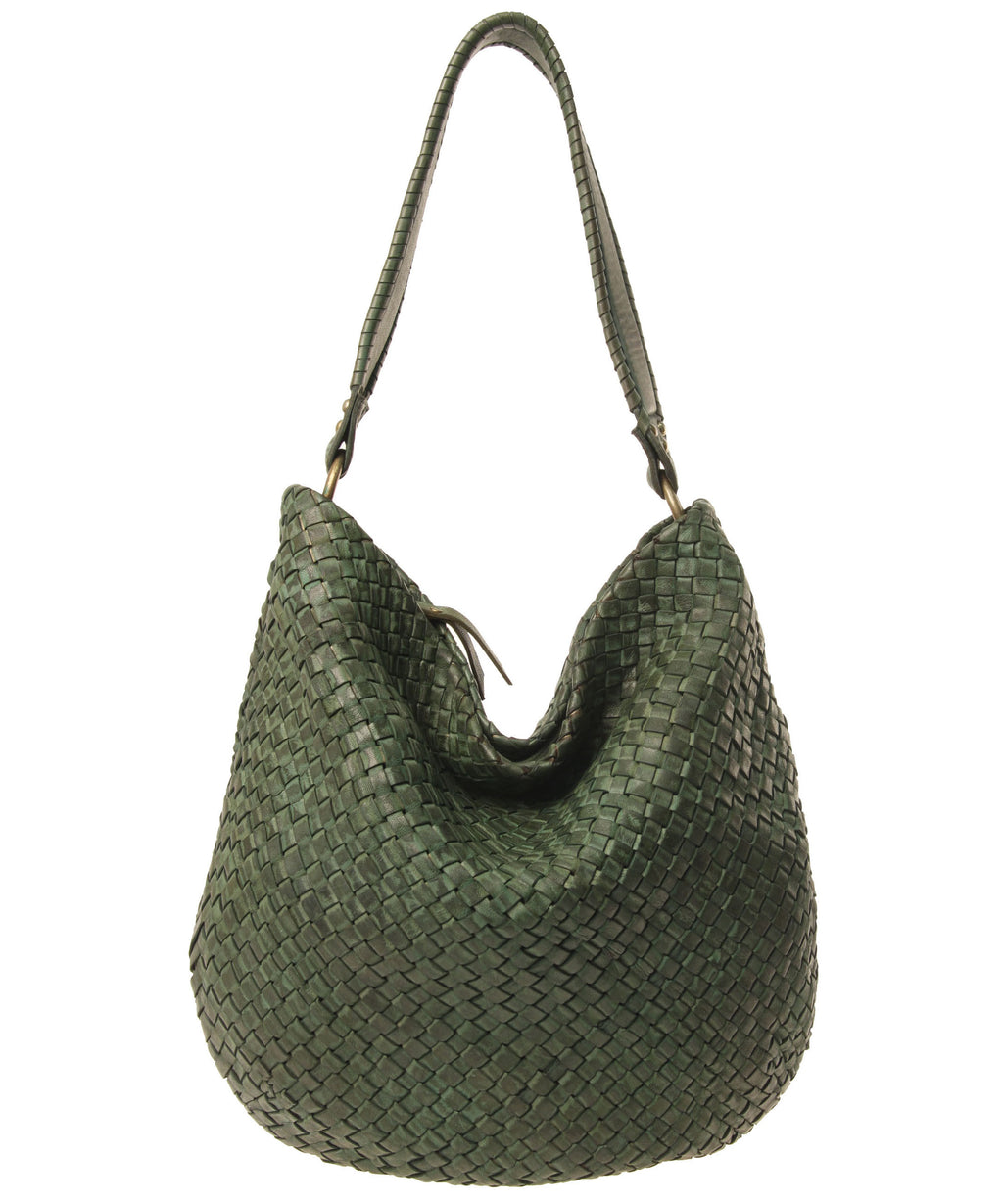 Rounded Woven Leather Hobo with Whipstitch Handle (9098841355)