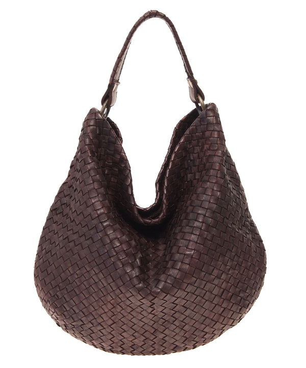 Rounded Woven Leather Hobo with Whipstitch Handle