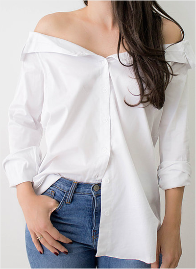 Button down white women's top