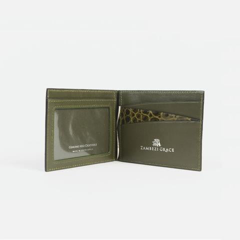 Crocodile Leather Wallet Money Clip