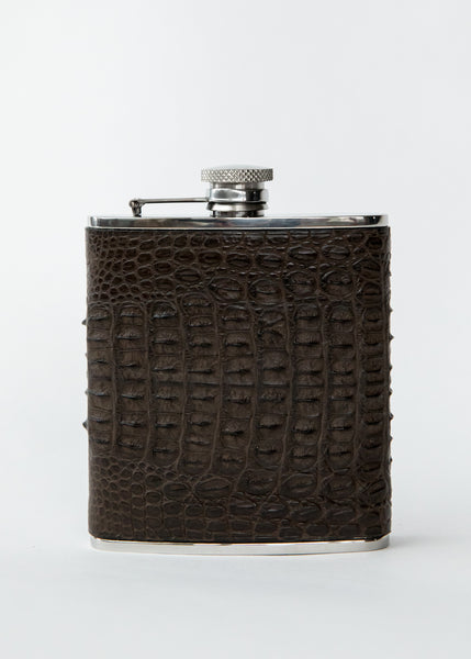 Hand-stitched Crocodile Leather Stainless Steel Hip Flask
