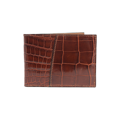 Crocodile Leather Tri-Fold Wallet